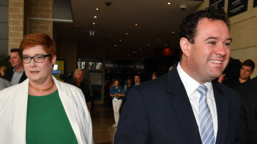 Minister for Foreign Affairs Marise Payne and husband NSW Minister for Sport Stuart Ayres arrive for the NSW Liberal campaign launch.