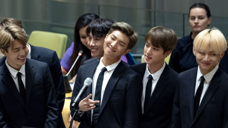 Members of the Korean K-Pop group BTS at the United Nations last month.