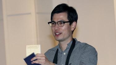 Alek Sigley arrives in Tokyo last week. after being held in North Korea