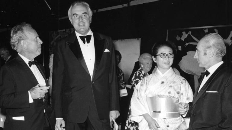 Opening of the inaugural Biennale of Sydney in 1973. From left: Dr 'Nugget' Coombs, Prime Minister Gough Whitlam; Inaugural Biennale artist, Minami Tada; and chairman, Franco Belgiorno-Nettis.