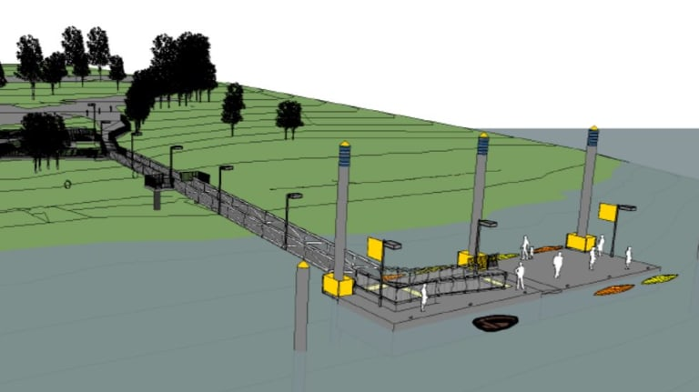 Design images for the proposed mooring facility at Dutton Park.