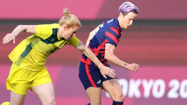 Megan Rapinoe (right) has scored twice against Australia already