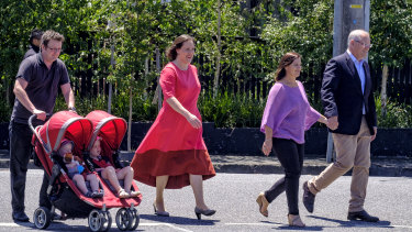 Minister for Women, Kelly O'Dwyer, pictured with her family and the Prime Minister, Scott Morrison, on the day she announced her departure from Parliament at the next election.