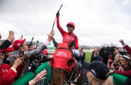 Great show: Jockey Kerrin McEvoy returns after winning The Everest on Redzel  at Randwick in October
