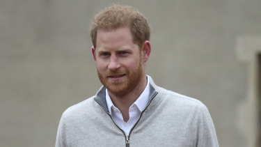 Britain's Prince Harry speaks to the media at Windsor Castle.