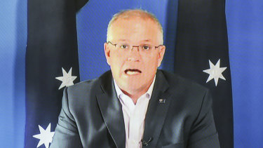 Prime Minister Scott Morrison speaking at a virtual press conference on Saturday.