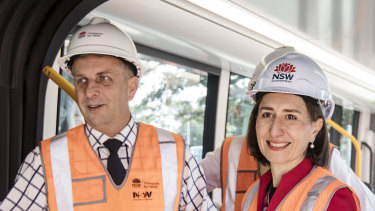 Gladys the builder: Ms Berejiklian with Infrastructure Minister Andrew Constance.