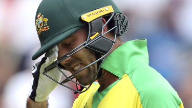 Costly dismissal? Glenn Maxwell after getting out against England.