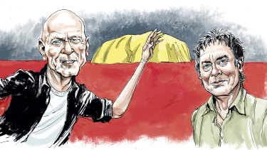 Peter Garrett and Rob Hirst: a curiosity about Australian Indigenous history had been gnawing at the band's conscience for years.