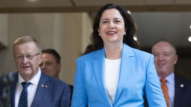 Premier Annastacia Palaszczuk speaks about the 2032 Brisbane Olympic Games bid, at Queensland Parliament House in February.