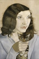 Lucian Freud's first wife, Kitty, seen in his 1947 painting, Girl with a Kitten.