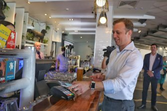 Deputy Premier Steven Miles enjoys a cold one at The Paddo in Paddington after hospitality restrictions eased in July 3.