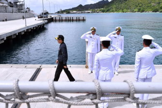 Indonesia's President Joko Widodo, left, on a military base in the Natuna waters in January.