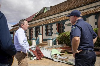 Premier Mark McGowan touring Kalbarri after cyclone Seroja.