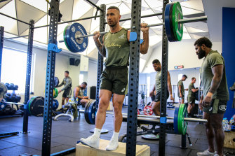 Quade Cooper training with the Wallabies on the Gold Coast.