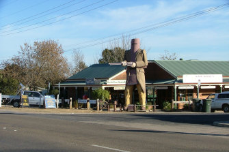 The statue of Ned Kelly at Glenrowan.