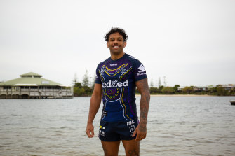 Melbourne Storm winger Josh Addo-Carr models the club's NRL Indigenous Round jersey for 2020.