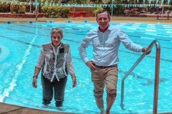 Regional Development Minister Alannah MacTiernan and Premier Mark McGowan cool off at the Kununurra pool.