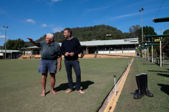 "Barry ""Barefoot Baz"" Roberts, left, president of Wisemans Ferry Bowling Club, is looking forward to a party this weekend."