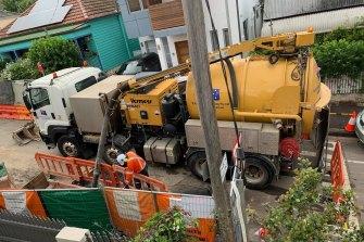 WestConnex workers busy on Callan Street in Rozelle.