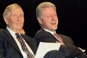 Redstone, pictured with former US president Bill Clinton in 1996.