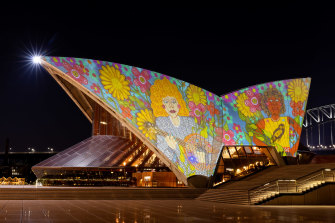Badu Gili featuring Kaylene Whiskey, projected onto the Sydney Opera House's eastern Bennelong sails.