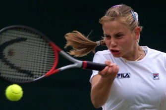 Dokic on her way to beating Mary Pierce at Wimbledon in 1999.