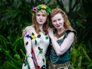 Alison Whyte and daughter Milly in A Midsummer Nights Dream.