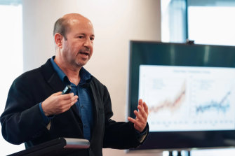 Michael Mann,distinguished professor of atmospheric science at Penn State University, speaks at the climate change science panelheld by the Sydney EnvironmentalInstitute last year.