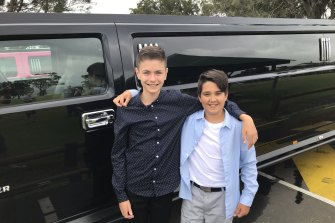 Daniel Field and Logan Rofe were part of a group of boys from Mount Brown Public School who rented a stretch Hummer for their year 6 farewell.