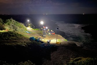The couple spent the night in an ocean cave at Catherine Hill Bay.