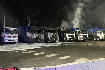 Fairfield Council lost half of its fleet of garbage trucks in a blaze on Tuesday night.