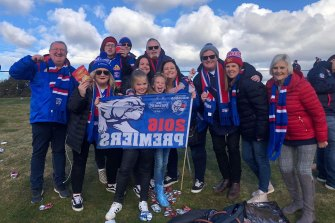 Top Dogs: Donna Harvey (second from right) with family and friends at a Bulldogs game in Ballarat.