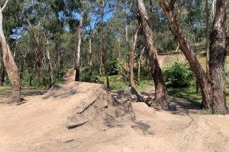Mountain bike jumps are pictured at Plenty Gorge in Bundoora.
