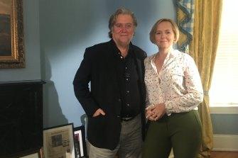 ABC Four Corners journalist Sarah Ferguson with Steven Bannon.