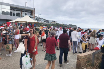 Revellers at Bronte Beach on Christmas Day