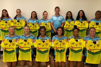 One of the girls: Tom Carter with the Australian women's sevens side.