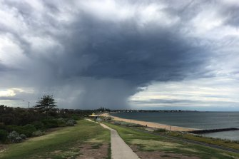 The view at Point Ormond in Elwood on Friday morning.