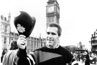 James Finch, pictured outside the London's Houses of Parliament in 1988 following his deportation from Australia.