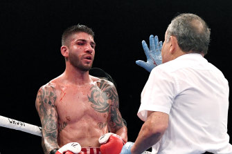 Michael Zerafa gets a standing count during the rematch between he and Jeff Horn.