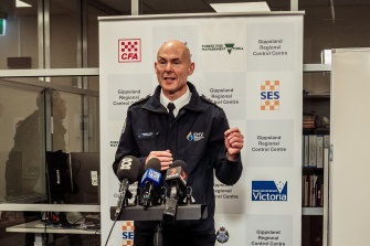Emergency Management Commissioner  Andrew Crisp in Traralgon on Sunday.