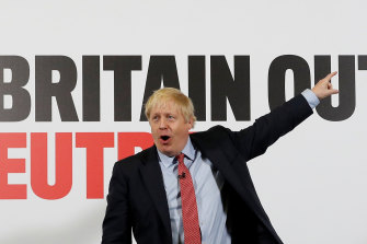 "British Prime Minister Boris Johnson launches the Conservatives' ""Get Britain Out of Neutral"" campaign poster."