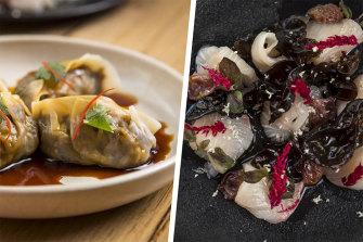 Sarsparilla braised ox-tail dumplings and kingfish sashimi with black fungus at Annam.