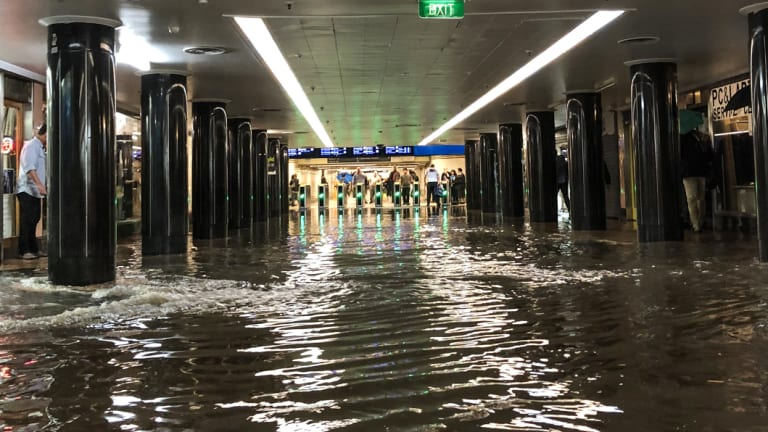 Commuters were left stranded at Flinders Street Station after a late afternoon storm saw flooding in parts of the CBD.