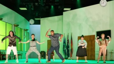 A production shot from Nakkiah Lui's current play How to Rule the World, on at the Sydney Opera House.