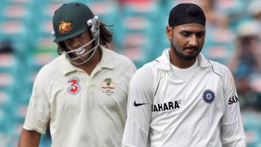 Powderkeg: Harbhajan Singh and Andrew Symonds at the SCG in 2008.