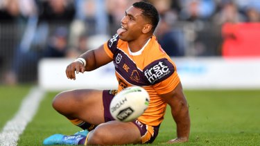 Tevita Pangai Junior celebrates a try in the Broncos win over the Sharks on Sunday.