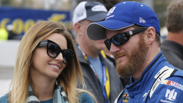 Dale Earnhardt jnr with his wife Amy Reimann. They have survived a plan crash in the US.