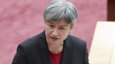 Labor's Senate Leader Senator Penny Wong speaks in reply to Minister for Finance Mathias Cormann's statement on Liberal MP Gladys Liu.