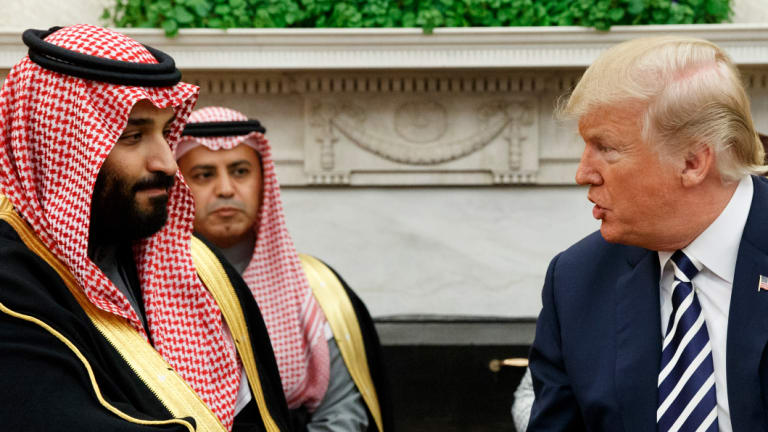 US President Donald Trump  with Saudi Crown Prince Mohammed bin Salman in the Oval Office of the White House in Washington in March 2018.